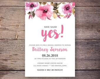 She Said Yes! Bridal Shower Invitation, She said yes Invitation, Wedding Shower Invites, Pink Watercolor Flowers - Brittney