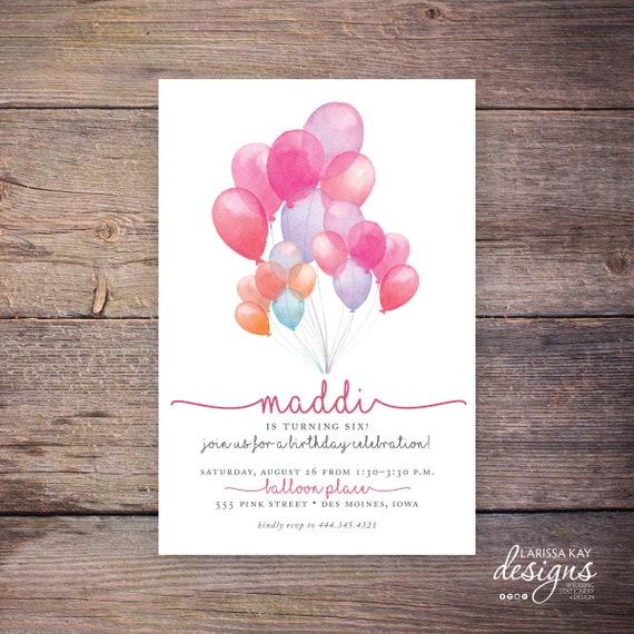 Balloon Birthday Invitation Pink Print At Home Invite Printable Maddi