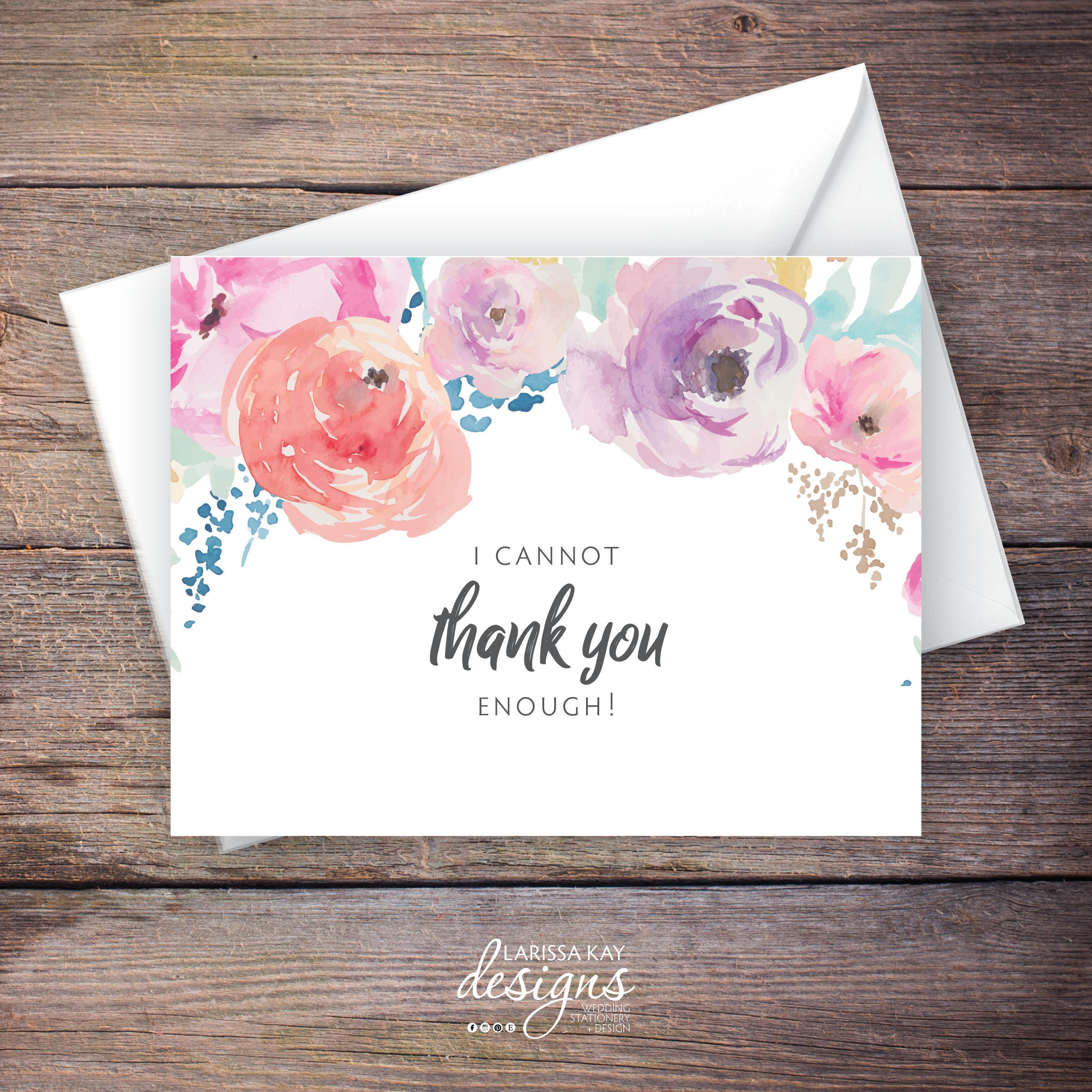 Printable Floral Thank You Greeting Card Instant Download Etsy
