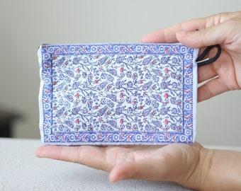 Small makeup bag for purse Zip fabric pouch for women Glitter zipper bag purse for hippie Boho Turkish coin purse