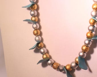 Teal with Gold and silver Necklace