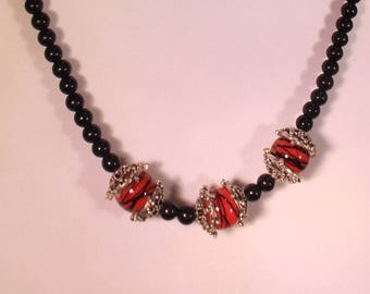 Triple Red Necklace