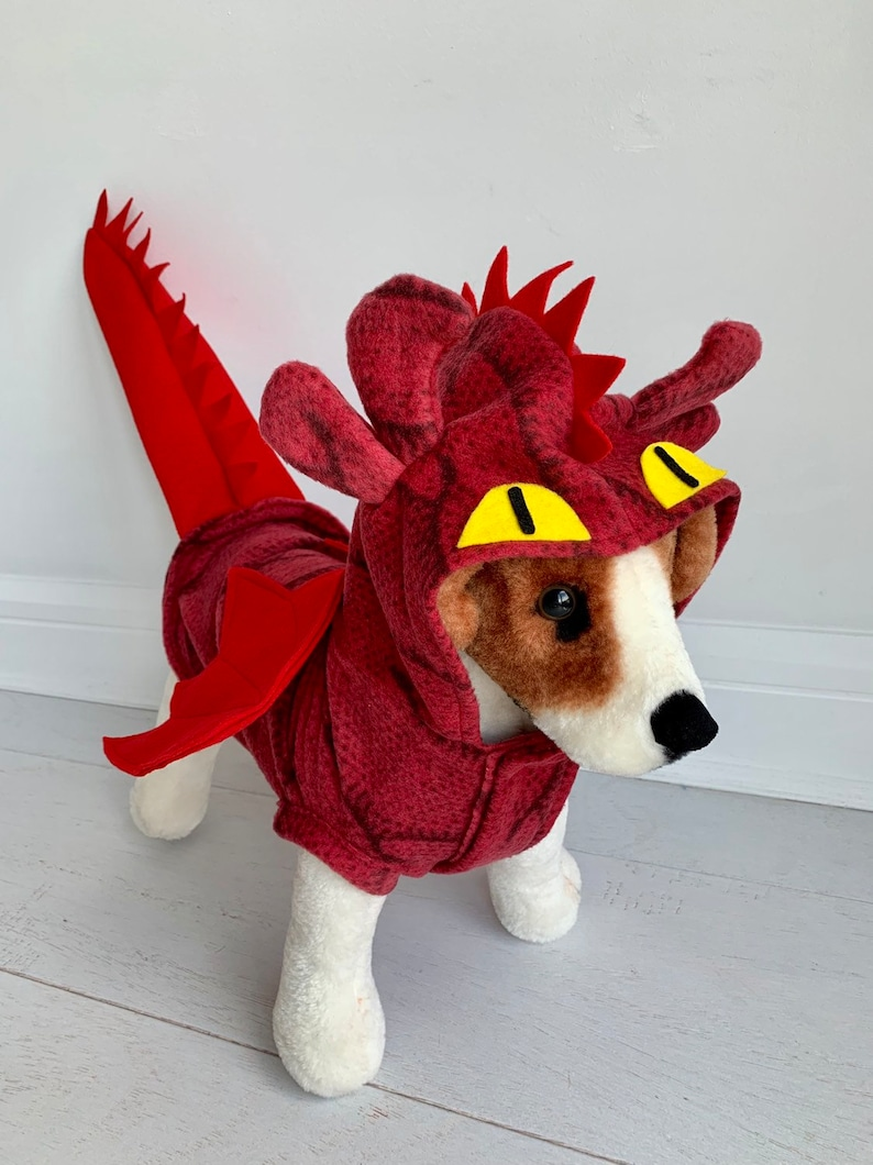 Red dragon costume Dog red dragon costume Halloween costume image 0