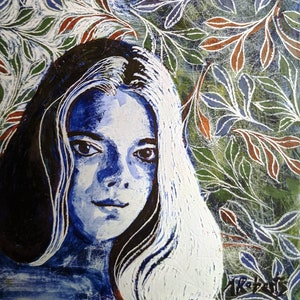 Moonshine Woman and Leaves Original Fine Art Painting Moonlight