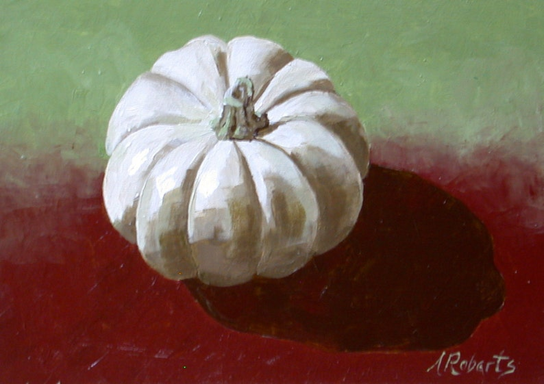 Weißer Kürbis Stillleben Gemälde Kleine Format Kunst Weißen Etsy