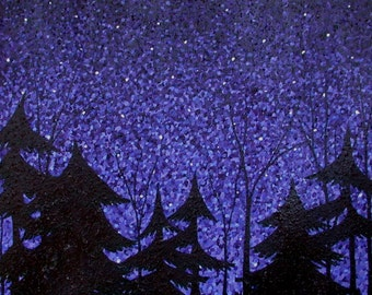 Starry Enchanted Forest, Night Sky Landscape, Pointillism Painting, Starry Night Sky, Enchanted Landscape