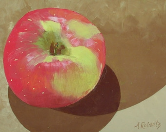 Red Apple Still Life Painting, Kitchen Wall Decor, Apple Painting, Teacher Painting