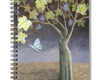 Surreal Landscape Dream Journal, Fantasy Spiral Notebook, Tree of Life, Butterfly Book