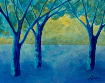 Mystical Blue Forest Surreal Landscape Painting, Home Decor, Mystical Painting, Blue Forest Painting