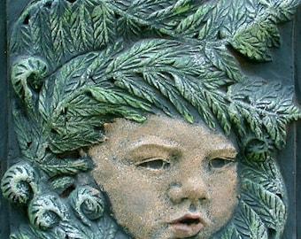 Fiddlehead Fern Cherub Clay Relief Sculpture, Garden Art, Fern Sculpture, Cherub Sculpture