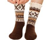 Sledging Socks hand-knit Warm Socks Long Socks Winter Socks Boot Socks Woollen Socks Merino Socks