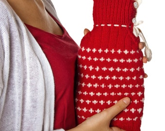 Hot Water Bottle Cover! Hand Knit From Pure Merino Wool! Hand Made Wool Accessory Perfect Gift