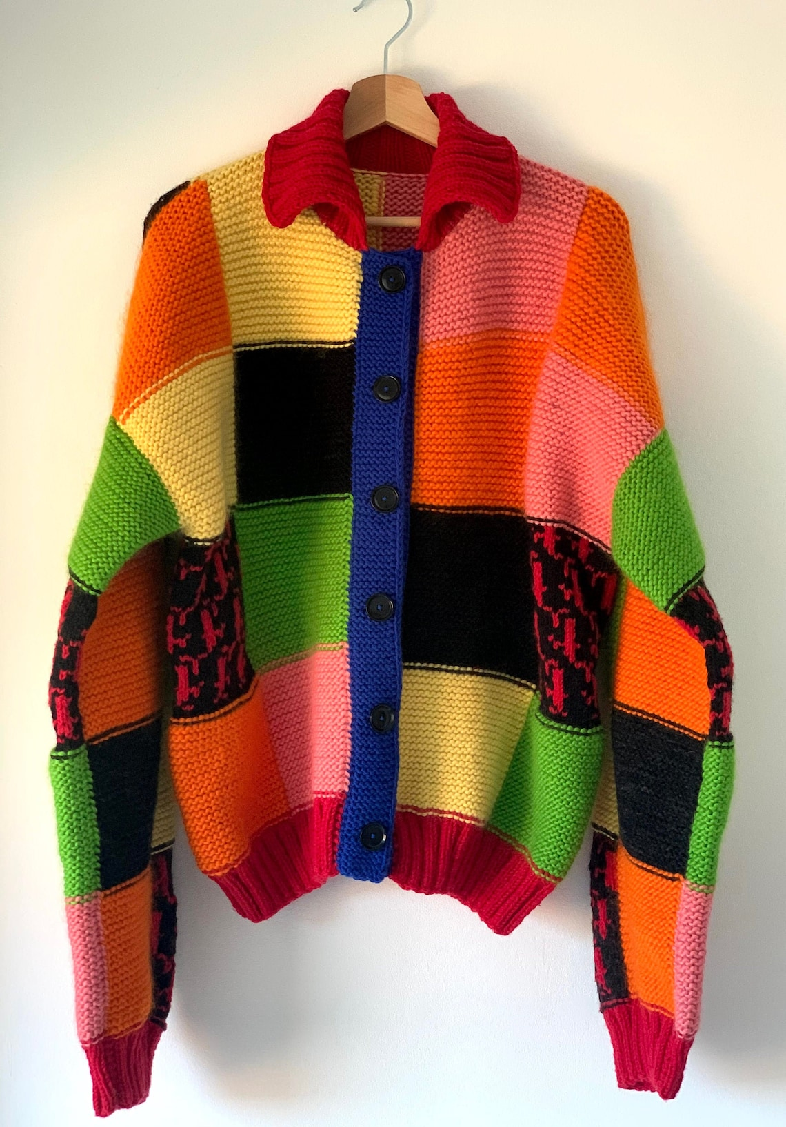 Jw Andersons Inspired Color Block Patchwork Cardigan