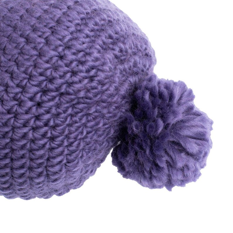 Merino Hat Non Itchy Hat Chunky Knit Beanie Stylish Hat Winter Hat Hand-Knit Super Soft Bobble Hat From Luxurious Purple Chunky Merino Wool