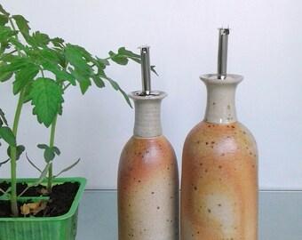 Oil cruet ceramic oil & vinegar dispenser pottery oil vinegar storage bottles handthrown oil vinegar container ceramic bottles