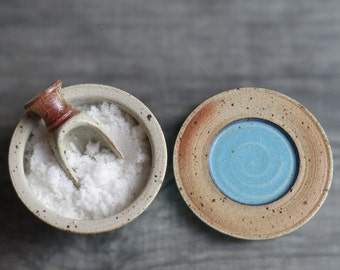 Salt cellar ceramic jar with lid container with lid stoneware pottery cellar for salt pepper herbs spices turquoise color