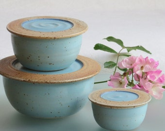 Kitchen storage jar ceramic jars pottery food container with lid Set of 3 jars ceramic container with lid for food storage