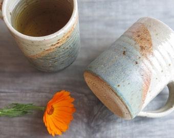 Handmade pottery mug hand thrown ceramic tea coffee cup gift for tea lover unique rustic coffee mug woodfired stoneware mug