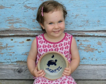Personalized kids bowl charming ceramic cereal plate toddler bowl for soup or salad bowl for kids personalized gift for kids MADE TO ORDER