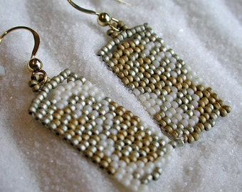 Handwoven, Peyote Stitch Earrings, size 14/15 seed beads