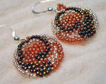 Handwoven, Circular Peyote Stitch Earrings, size 14/15 seed beads