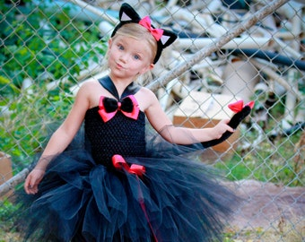 Black Cat Tutu Dress Costume, Girls Cat Costume, Toddler Halloween Costume