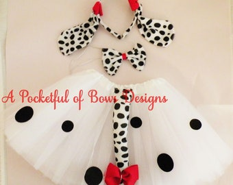 Dalmatian Tutu Costume, Toddler Girls Dog Halloween Costume with Ears and Tail