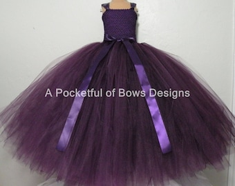 8a6d769fcd4 Items similar to Silver Ivory Plum Flower Girl Tutu Dress