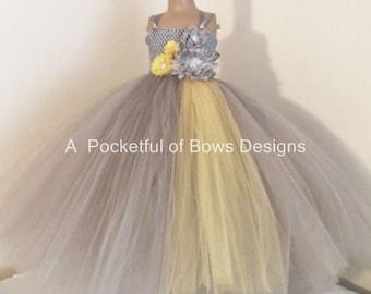 Yellow flower girl etsy silver and yellow flower girl dress silver and yellow ball gown gray flower girl tutu dress mightylinksfo