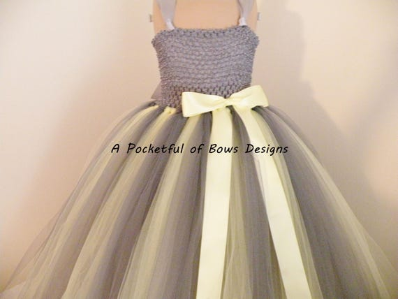 Charcoal Gray Flower Girl Dress, Charcoal and Yellow Flower Girl Tulle Dress