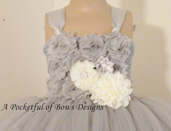 9bf44799681 Silver Gray Flower Girl Dress Long Silver Flower Girl Dress
