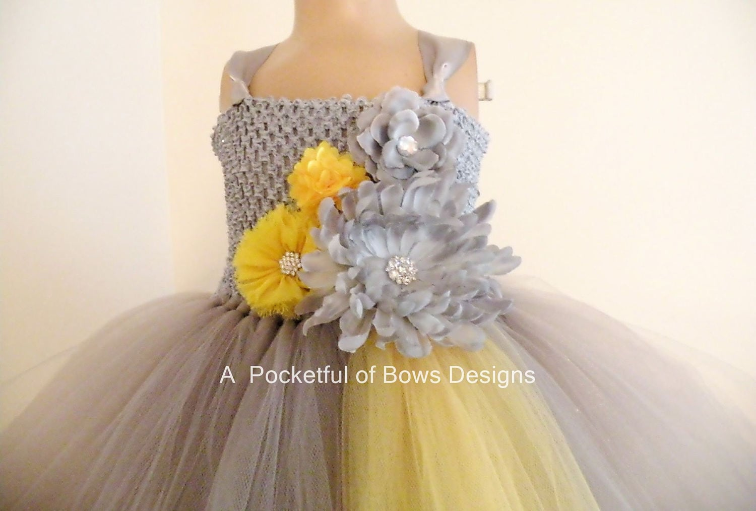 Flower Girl Dress Silver Yellow Silver Gray And Yellow Tulle Etsy