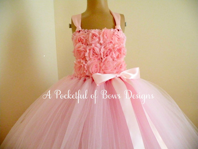 Flower Girl Dress Blush Pink and Ivory Tulle Dress with Shabby Flowers Boho Rustic Weddings