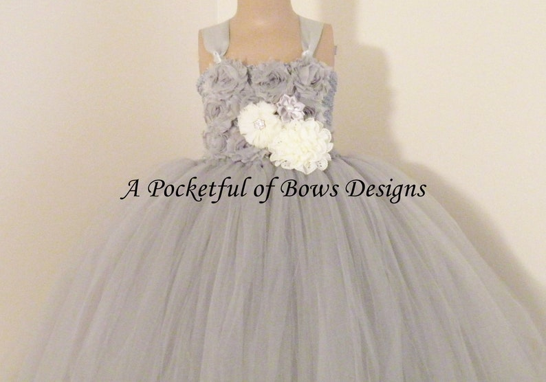 44af537f561 Silver Flower Girl Tutu Dress Girls Gray Ball Gown with