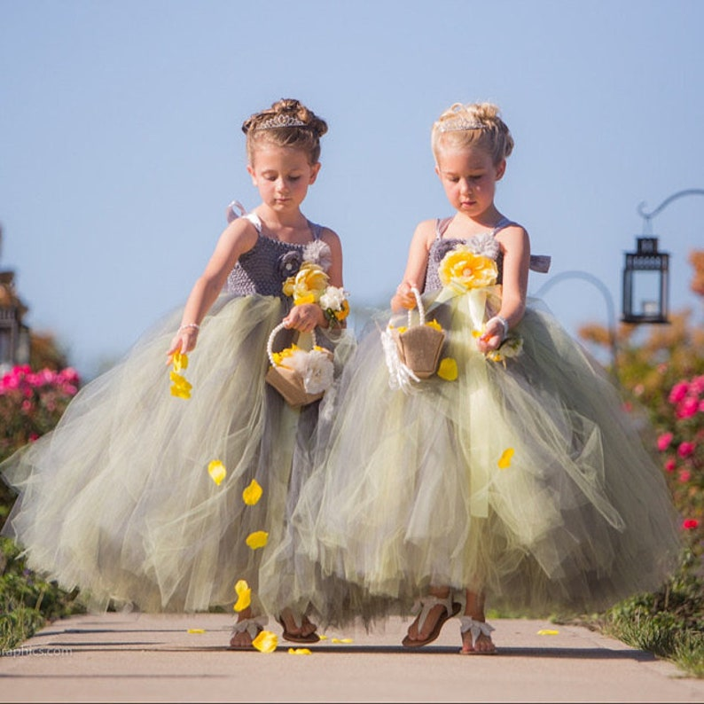 Charcoal Silver Flower Girl Dress, Dark Silver and Yellow Flower Girl Tutu Dress, Toddler Flower Girl, Long Tutu Dress