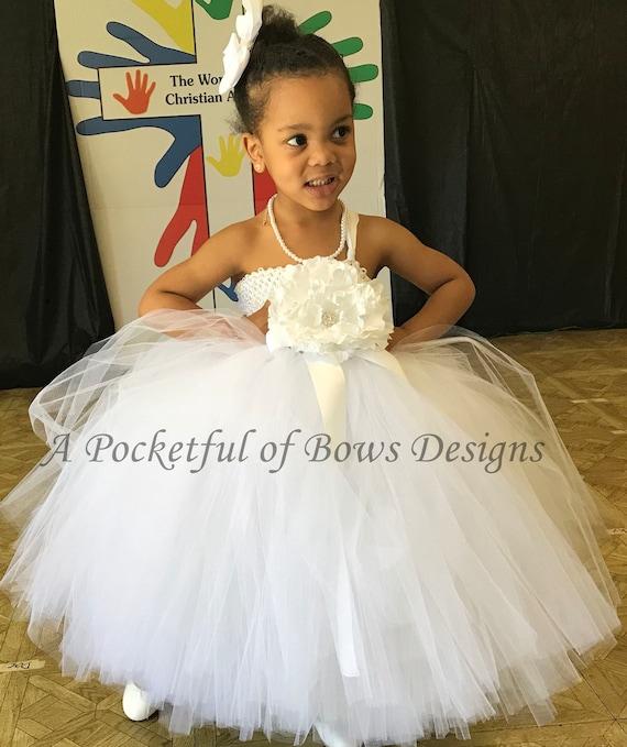 White flower girl dress tulle flower girl tutu dress one etsy image 0 mightylinksfo