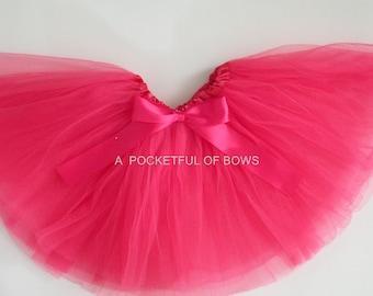 Hot Pink Tutu Skirt, Toddler Girls Hot Pink Tutu, Dress Up Tutu