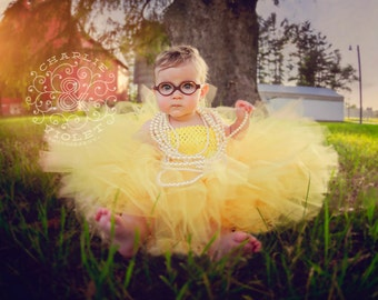 Sunflower Tutu Dress, Baby and Toddler Extra Fluffy Tutu Dress, Birthday Outfit