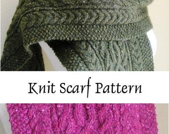 Scarf Knitting Pattern, Printed Hard Copy -- Gormlaith -- Beautiful Cabled Aran Scarf