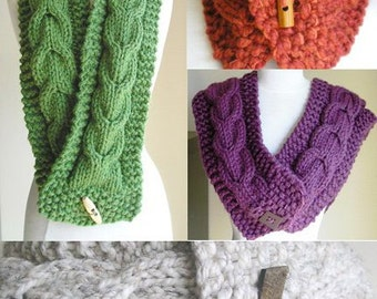 """Knitting Pattern -- Cabled Scarf and Cowl Combo -- """"Lucky Horseshoes"""" -- PDF Pattern -- Perfect for Making Last-Minute Gifts"""