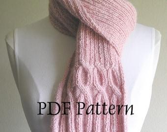 Breast Cancer Ribbin' Scarf -- PDF Pattern -- Knitting