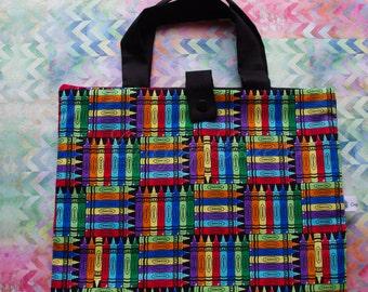 Coloring tote, Crayon tote, Coloring bag, Crayon Bag, travel bag for crayons - tools of the trade