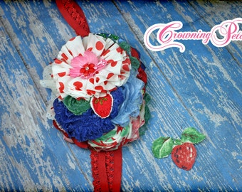 M2M Strawberry Crumble Dress, Red, Blue, Green, Pink Headband, Made to Match Matilda Jane  Hair Accessory, Happy and Free Fruit Flan Diaper