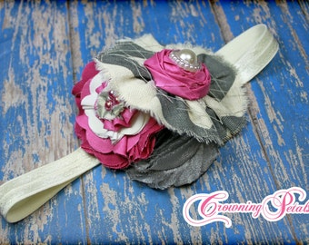 Fuchsia pink, Grey, Ivory Headband, Gray Hair Piece, M2M Mustard Pie Daphne Raspberry Truffle Hair Clip, Hair Bow, Fabric Flowers
