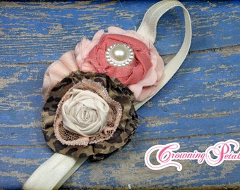 Leopard, Coral, Peach Headband, Hair Accessory, Brown, Ivory Hair Bow, Hair Piece, Fabric Flowers, Baby Girl Hair Clip, Leopard Print Bow