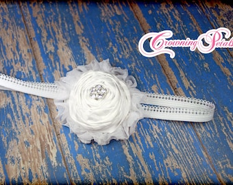 White Flower Headband, White Hair Clip, Solid White Flower Girl Hair Piece, All White Hair Bow, Dedication Hair Accessory, White Headband