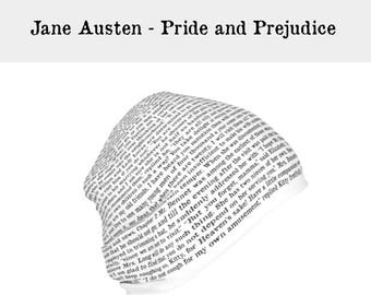 JANE AUSTEN, Pride and Prejudice Slouchy Beanie Hat, Gifts for Readers, Book Quote, Book Clothing, Gift for Book Lover, Writer Gift White