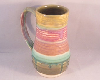 39fa1355afc Handmade Ceramic Coffee Mug- Pink Green  IMPERFECT