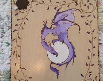 Purple Dragon and Moon  scrap book of shadows tarot witch spells wicca wood faux leather wedding Love journal grimorie  Halloween