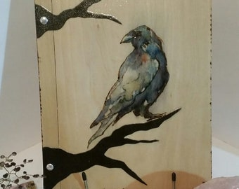 Raven totem  Witch Pagan Tarot psychic  spell stain glass moon  scrap book of shadows heart expandable altar Love paper valentines